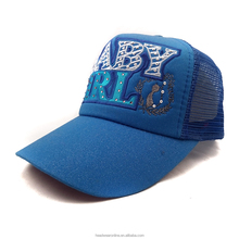 Wholesale hot drilling flat embroidery children trucker hat