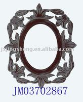 Round walnut wooden carved Wall hanging mirror frame
