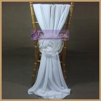 C214B elegant fancy white chiffon organza flower chair sashes cheap wedding chair covers