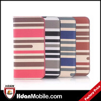 china wholesale Stripe PU leather flip case cover for htc one m9 window case