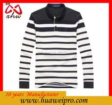 Blanco y negro rayas camisa de Polo de hilo teñido camisa de Polo <span class=keywords><strong>bordado</strong></span> de algodón mercerizado hombres de rayas camisa
