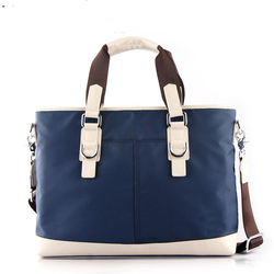 New arrival casual men canvas handbag with genuine leather trimming
