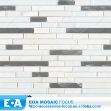 Foreign Decoration Bathroom Frosted Frame White Brush Alloy And Glass Mosaic Tile