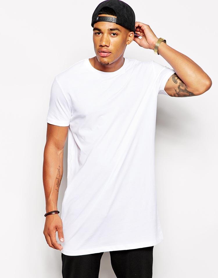 Mens 100 Cotton Blank White Tall T Shirt In Short Sleevs