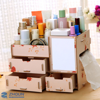 3 tier makeup organizer box with mirror with drawer