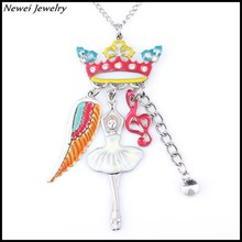 Newei 2015 Fashion Necklace Enamel Alloy Girl With Crown Floating Pendant Long Chain Necklace