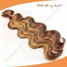 wholesale body wave blend #4/27 color virgin hair brazilian human hair sew in weaves