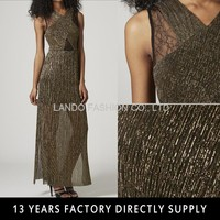 Gold Print Sexy Side Split Sleeveless V neck Latest Casual Dress Designs