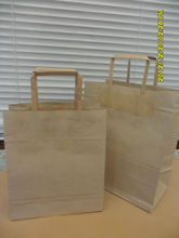Brown kraft paper grocery bag with flat handle