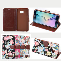 Flower pattern PU leather cover For Samsung s6 edge plus with TPU soft case inside, for samsung s6 edge plus belt clip case