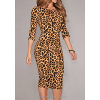 Leopard pattern seven half figure fit bodycon dress, sexy summer woman bandage dress wholesale