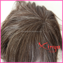 High quality 100% human hair gray hair man toupee