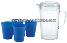1000 ml plastic pitcher and 4 200ml water cups