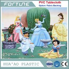 Non toxic disney princess print design pvc vinyl tablecloth