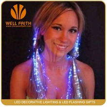 Luminous Party girl fiber optic Hair fake Extension Flash hair Braid, Luminous Light Up expression LED braiding Hair
