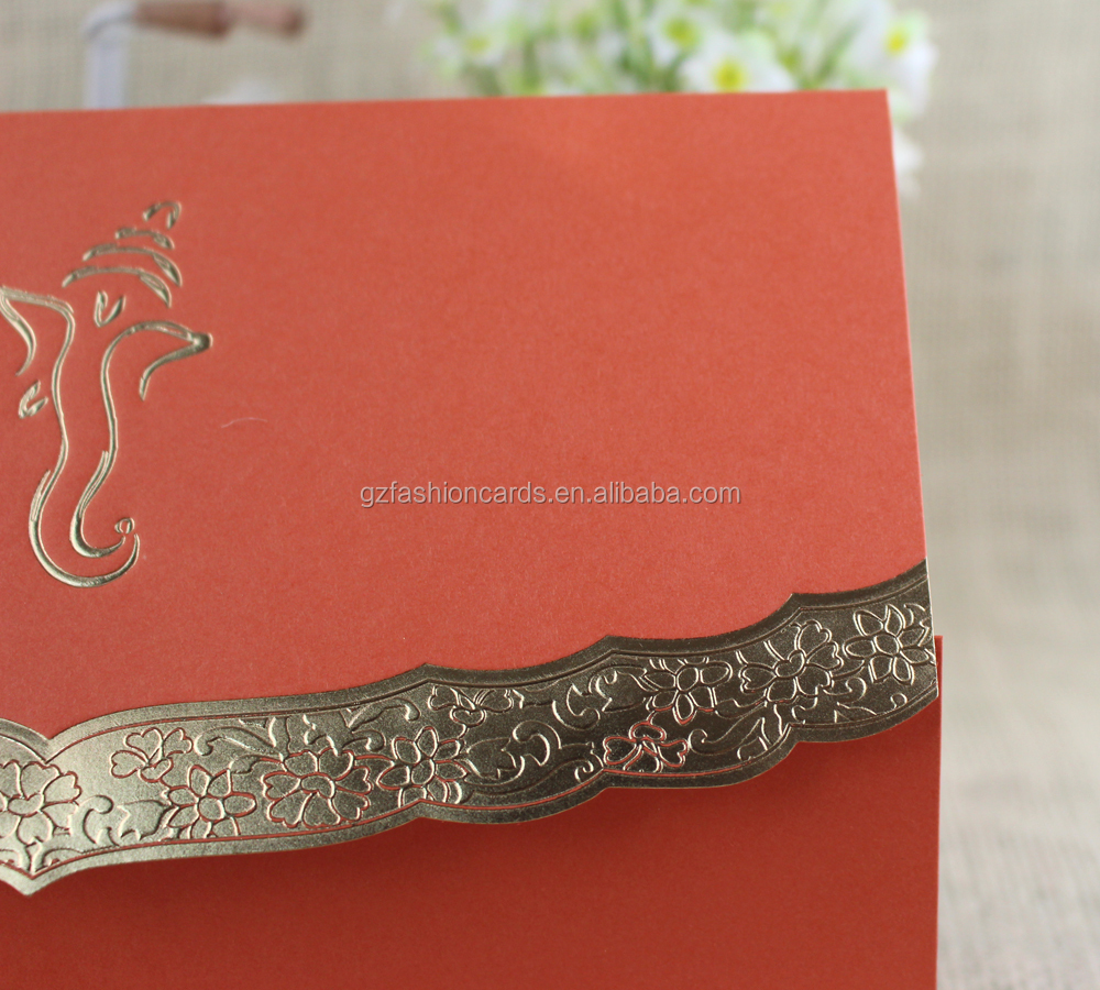 2016 Ideal Products Indian Charming Coral Luxury Wedding Invitation ...