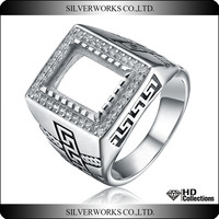 925 sterling silver ring big size DIY men silver punk ring men blank ring with zircon