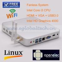 Fanless Mini PC Windows Ubuntu Embedded CPU Intel i3 4010U Dual Core 4 Threads Support 4K HD 2GB DDR3 128GB SSD Thin Client HTPC
