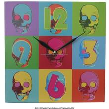 MDF Skull Pop Art Novelty Wall Clock