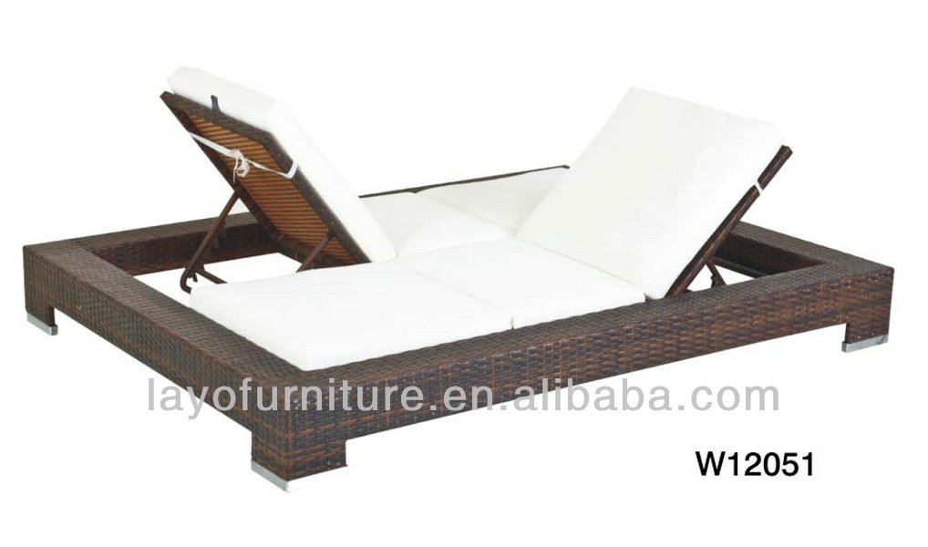 Alum Frame Double Rattan Sunbed Outdoor Furniture 2 Person ...