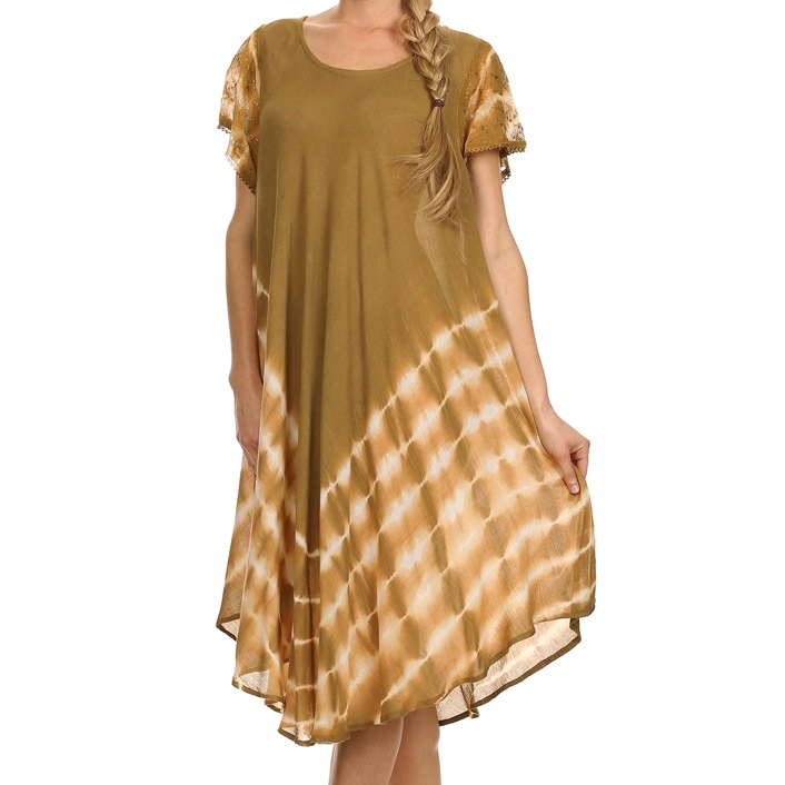 dresses tie dye lace sleeve woman gold beach kaftans long in india ...