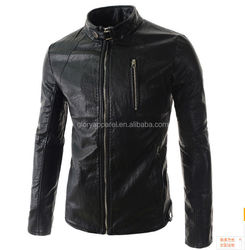 Fashion men's casual pure leather jacket collar
