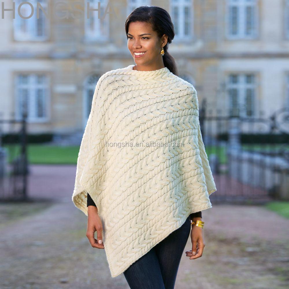 Merino Wool Sweater Irish Wool Knitted Poncho Hsc1372 - Buy Wool ...