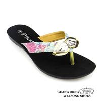 fashion flat summer lace cloth on upper thong slippers popular fashion women pu sandal