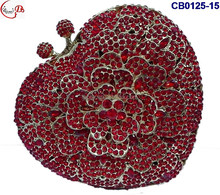 CB0125-(15-18) red golden colorful shining design women clutch crystal for party rhinestone clutch bag