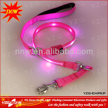 2015 New Product AE178 LED Pink Nylon Pet Dog Leash