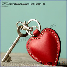 2016 best promotion gift heart design leather keychain for girl friend