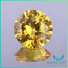 Wholesale round brilliant faceted light golden american gemstone 1mm aaa cz