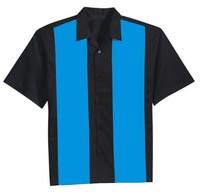 Dropship wholesale man retro fashion latest design bowling shirt button up blue kleding rock and roll