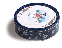 Round tin box for cookie with chirstmas design