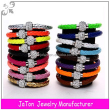 Mix Color New Shamballa Braided PU Leather Bracelet With CZ Disco Crystal Magnetic Clasp