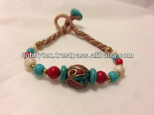 Thailand handmade bracelet bangle with turquoise and brass beads