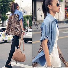 Azul vintage casual chic de la mujer denim de empalme blusa de gasa de leopardo t- shirt tops sueltas 8995