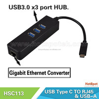 (White)USB Type C to Multiple 3 Ports USB 2.0 Hub RJ45 LAN Ports Adapter with Ethernet/ type-c hub with lan