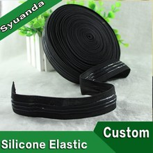 "1"" Black Custom Non-Slip Silicone Gripper Elastic Waistband for Cycling Jersey"