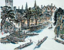 Punting on the the River Cherwell-Chinese ink on xuan paper
