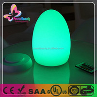 hard plastic housing white pe material decor colorful led egg shape light