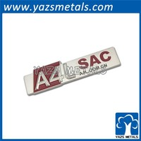 zinc alloy die cut silver metal car badge, car badge with sticker/ car logo metal badge