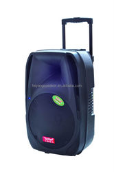"12""professional portable battery multimedia professional stage hand and wheels fashion speaker box with usb,sd,fm,trolley(F-19)"
