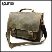 Vintage crazy horse leather messenger bag men fashion handbags made in China
