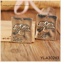 sterling silver oxidized Angel wing pendant or dog tag, charm, Pendant with angel wings, angel wings Fashion Charm YL-A30243
