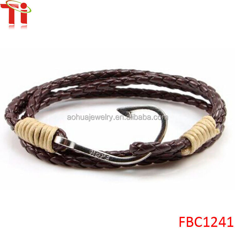 Mens multilayers leather hope fish hook wrap bracelet for Leather fish hook bracelet