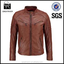 Directo de fábrica más el tamaño de cuero hombre de brown de la chaqueta just design