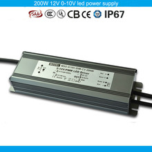 Five years warranty CE SAA TUV passed PWM compatible 0-10V led transformer 200W 12V