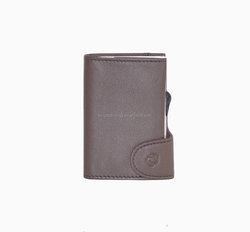 Custom Printed Leather Genuine Business CardHolder aluminum castagno