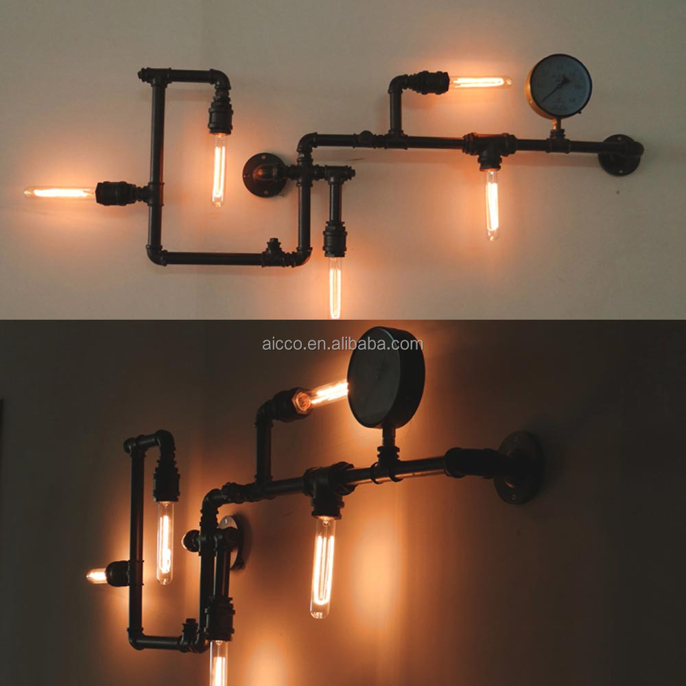 beliebt dachboden industrie jahrgang rohr wandleuchte mit edison lampe wandleuchte wandlampe. Black Bedroom Furniture Sets. Home Design Ideas